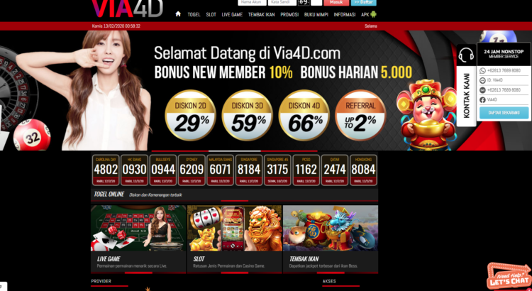 Via4D Situs Daftar Togel Online Pilihan Bonus Paling Banyak